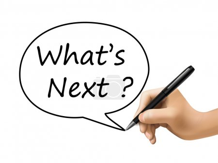 Illustration pour Quels sont les prochains mots écrits par 3d main sur blanc - image libre de droit