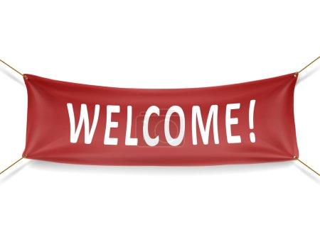 Illustration pour Bannière de bienvenue rouge isolé sur fond blanc - image libre de droit