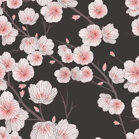 Illustration for Cherry blossom seamless pattern over black background - Royalty Free Image