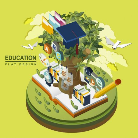 Photo for Flat 3d isometric education concept illustration over green background - Royalty Free Image