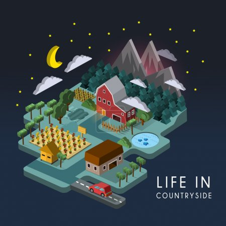 Illustration for Flat 3d isometric life in countryside illustration over dark background - Royalty Free Image