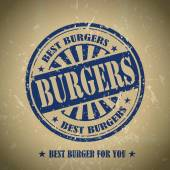 Vintage burgers menu cover design with blue stamp element
