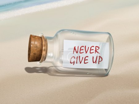 Illustration for Never give up message in a bottle isolated on beautiful beach - Royalty Free Image