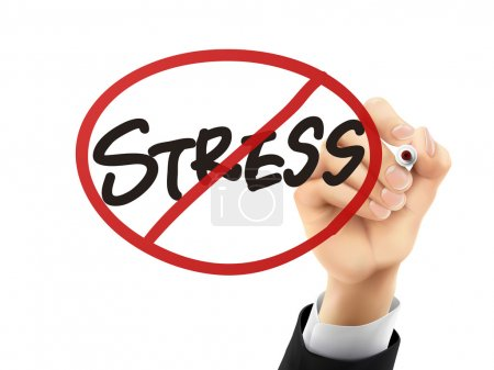 Illustration for No stress words written by hand on a transparent board - Royalty Free Image