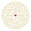 Circular maze with heart element isolated on white...