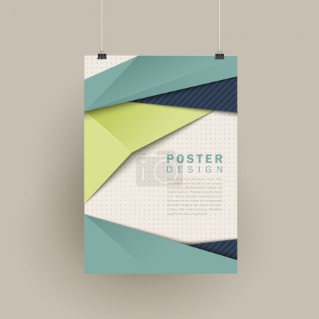 Illustration for Trendy poster design with origami style elements in blue and green - Royalty Free Image