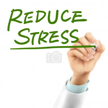 Illustration for Doctor writing reduce stress words in the air - Royalty Free Image