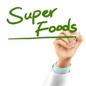 doctor writing super foods words