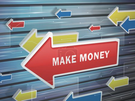 moving red arrow of make money words