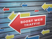 Moving red arrow of boost web traffic words on abstract high-tech background
