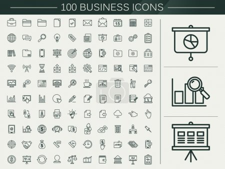 Illustration for 100 business line icons set over beige background - Royalty Free Image