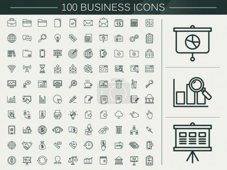 Illustration pour 100 icônes de ligne d'affaires fixées au fond beige - image libre de droit