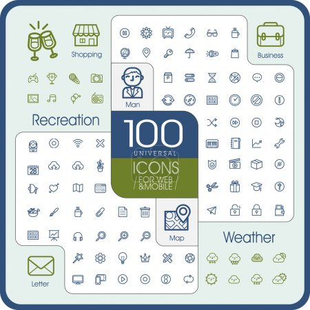 Illustration for Lovely 100 universal icons set for website and mobile - Royalty Free Image