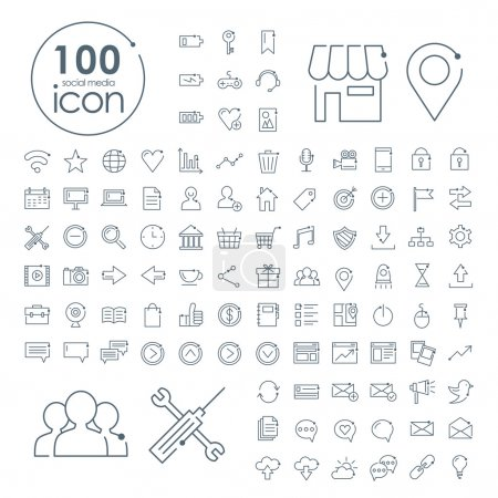 Illustration for 100 social media icons set over white background - Royalty Free Image