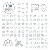 100 social media icons set over white background