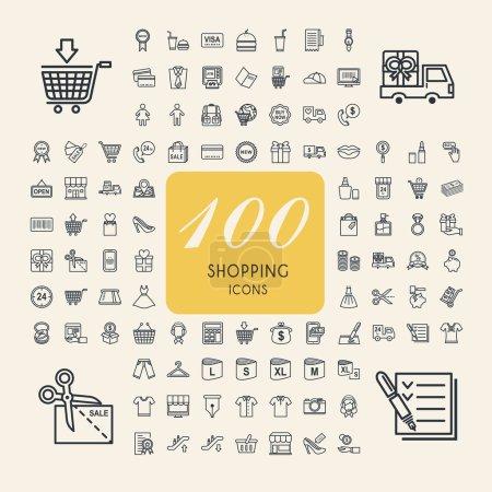 Illustration for Elegant 100 shopping icons set over beige background - Royalty Free Image