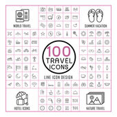 lovely 100 travel icons set