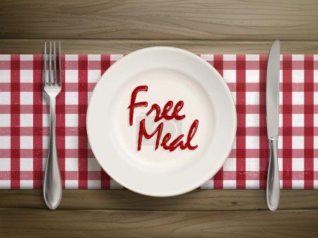 Illustration pour Vue du dessus du repas gratuit écrit par ketchup sur une assiette au-dessus d'une table en bois - image libre de droit