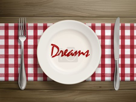 Illustration for Top view of dreams word written by ketchup on a plate over wooden table - Royalty Free Image