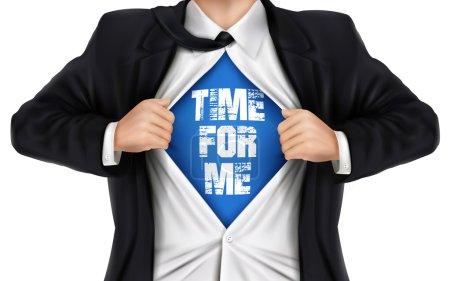 Illustration pour Homme d'affaires montrant Temps pour moi mots sous sa chemise sur fond blanc - image libre de droit