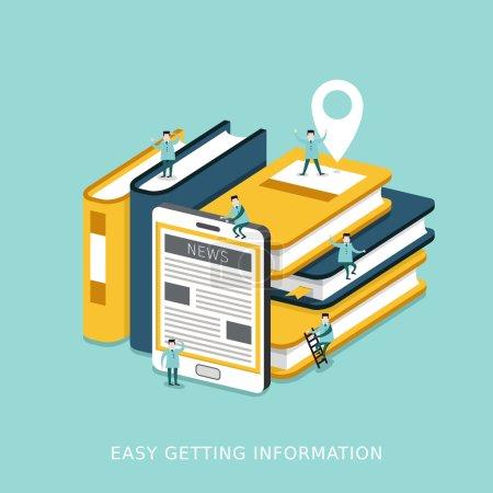 Illustration pour Infographie isométrique 3D plate pour obtenir facilement le concept d'information avec des livres et une tablette empilés ensemble - image libre de droit
