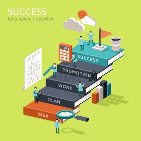 reach success concep flat 3d isometric infographic