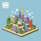 urban city concept 3d isometric infographic
