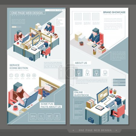Illustration for Business concept one page website template design with workplace scene - Royalty Free Image