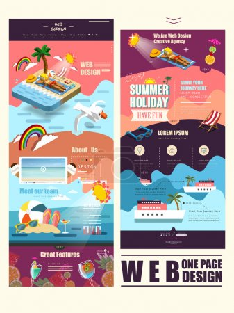 Illustration for Summer vacation concept one page website template design with sunbathing scene - Royalty Free Image