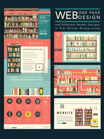 lovely one page website template design with library scene