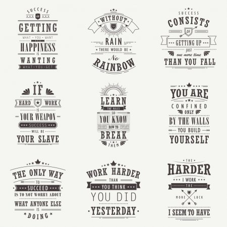 success motivational and inspirational quotes set