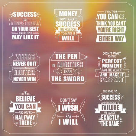 Illustration for Success motivational and inspirational quotes set isolated on blurred background - Royalty Free Image