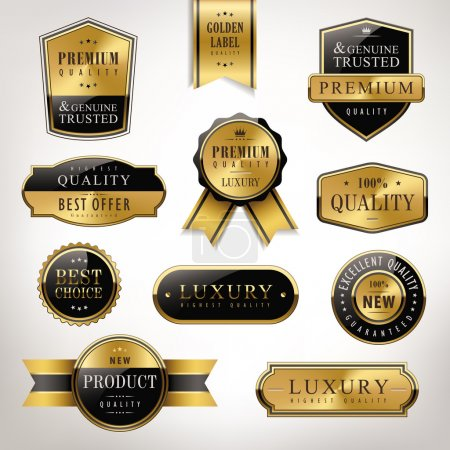 Illustration for Luxury premium quality golden labels collection over pearl white background - Royalty Free Image