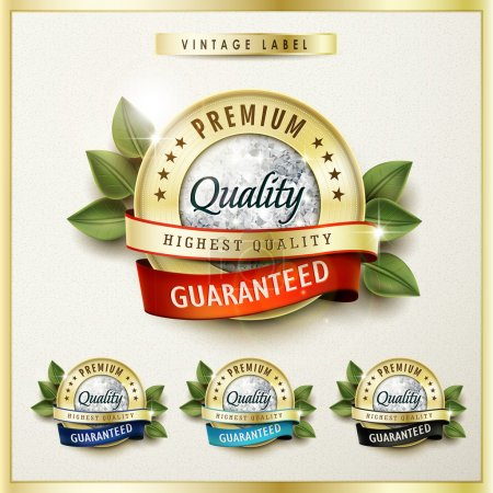 premium quality golden labels with diamond elements