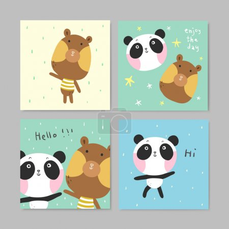 adorable greeting cards with lovely bear and panda