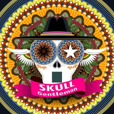 Attractive Mexican skull gentleman cover design