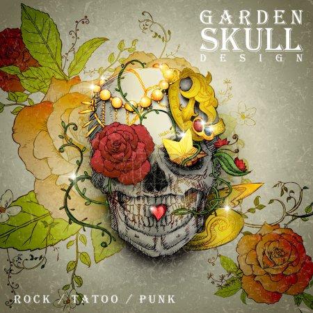 Illustration pour Affiche design crâne de jardin attrayant combiné avec des éléments floraux rétro - image libre de droit