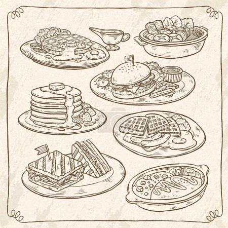 retro hand drawn style delicious dishes collection
