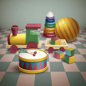 Exquisite colorful toys set isolated on floor