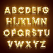 Modern lighting alphabet set isolated on brown background