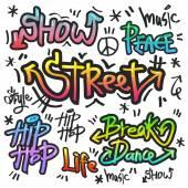 Dekorativní pouliční graffiti umění v různých barvách