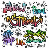 Decorative street graffiti art in various color