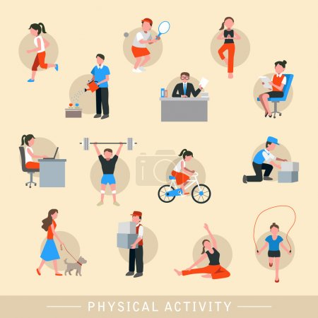 Illustration for Physical activity icons set isolated over beige background - Royalty Free Image
