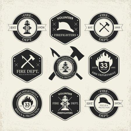 Illustration pour Emblèmes divers des services d'incendie mis isolé sur fond beige - image libre de droit