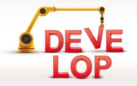 Industrial robotic arm building DEVELOP word