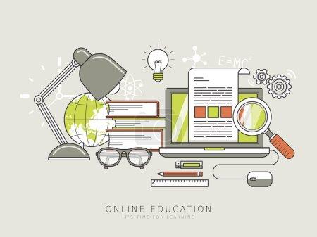 Illustration pour Concept d'éducation en ligne dans le style de ligne mince - image libre de droit