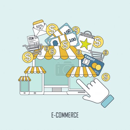 Illustration for E-commerce concept with online store elements in thin line style - Royalty Free Image