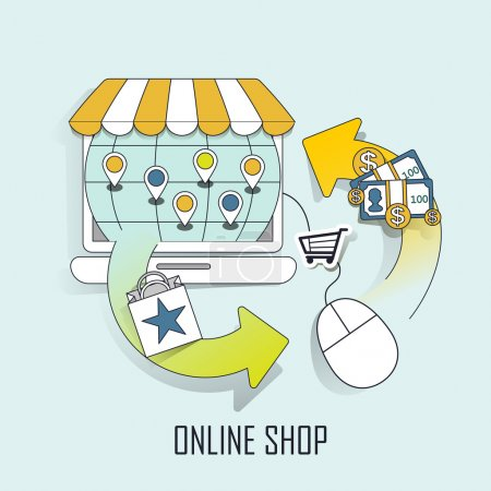 Illustration for Online shop concept: a virtual store and shopping process in line style - Royalty Free Image