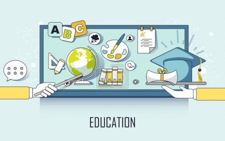Photo pour Concept d'éducation : éléments d'apprentissage et plafond de graduation dans le style de ligne - image libre de droit