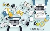working place of creative team
